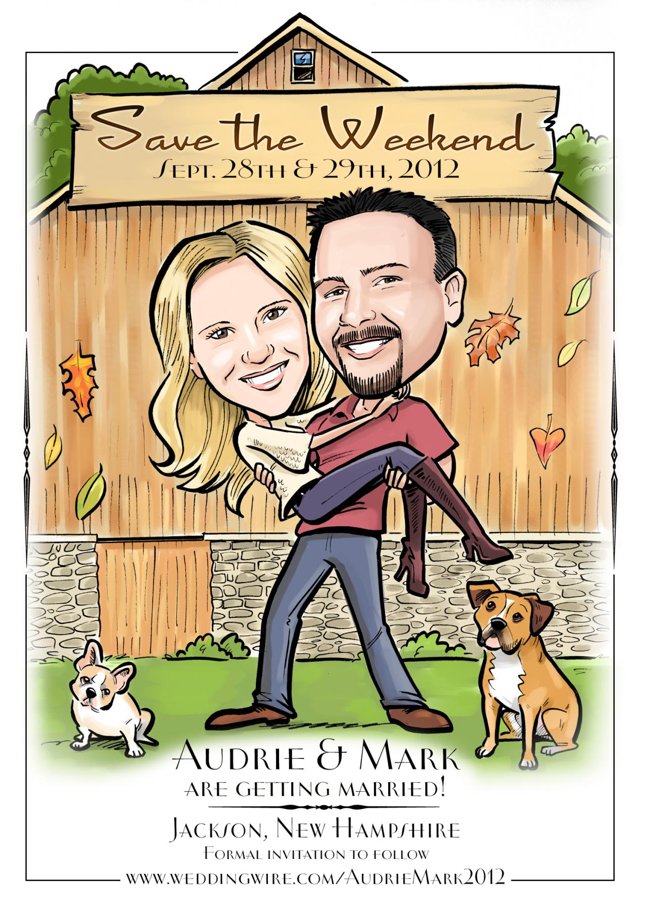 Custom Illustrated Caricature Save the Dates and Wedding Invitations